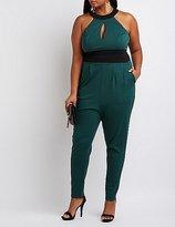 Charlotte Russe Plus Size Colorblock Keyhole Jumpsuit