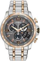 Citizen 44mm Men's Time Zone Chronograph Bracelet Watch, Two-Tone