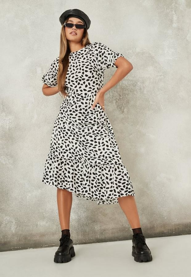 Missguided Petite White Dalmatian Print Ruffle Hem Smock Dress