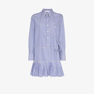 Chloé Pinstripe Front Tie Shirt Dress