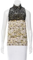 Peter Som Guipure Lace-Accented Printed Top