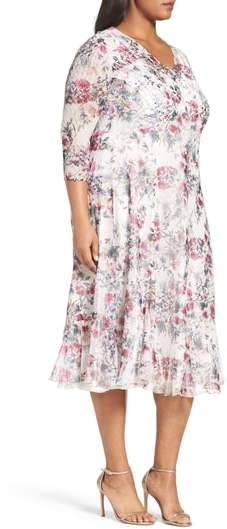 Komarov Plus Size Women's Print Chiffon Midi Dress