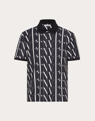 Valentino Polo With Vltn Times Print Man Black/white Cotton 100% M