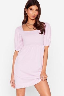 Nasty Gal Womens Square My Love Puff Sleeve Mini Dress - Purple - 4