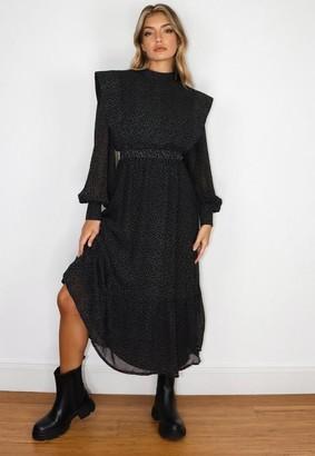 Missguided Black Star Print Shoulder Pad Midi Dress