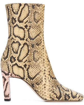 Wandler Square Toe Snakeskin-Effect 90mm Boots