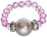 Swarovski Crystal Avenue Silver-Plated Simulated Pearl & Crystal Stretch Ring - Made with Crystals