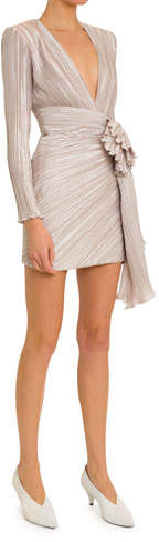 Givenchy Deep-V Pleated-Satin Wrap Dress