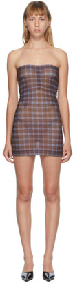 Charlotte Knowles SSENSE Exclusive Brown Check Skinn Dress