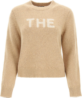 "MARC JACOBS, THE MARC JACOBS (THE) SWEATER WITH ""THE"" INTARSIA L Beige, White Wool"