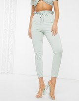Couture The Club motif paper bag waist jogger in sage