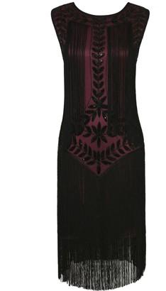 PrettyGuide Women's 1920s Vintage Sequin Full Fringed Deco Inspired Flapper Dress S Burgundy