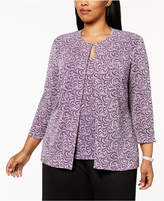 Alex Evenings Plus Size Glitter Printed Jacket & Shell