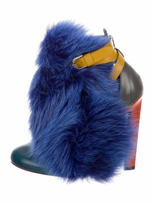 Brian Atwood Majoy Fur-Trimmed Ankle Booties Blue