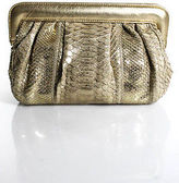 LAI Gold Python Skin Clutch Handbag Size Small