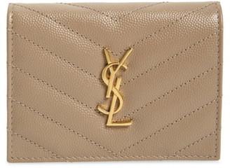 Saint Laurent Monogram Quilted Leather Leather Flap Card Case