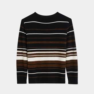 Theory Cashmere Striped Crewneck Sweater