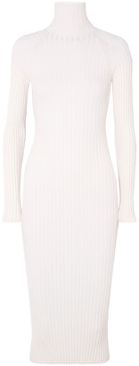 Haider Ackermann Ribbed Wool And Silk-blend Turtleneck Midi Dress
