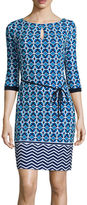 Liz Claiborne 3/4-Sleeve Geo-Print Sheath Dress