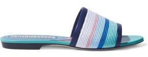 Emilio Pucci Leather-trimmed Striped Faux Raffia Slides