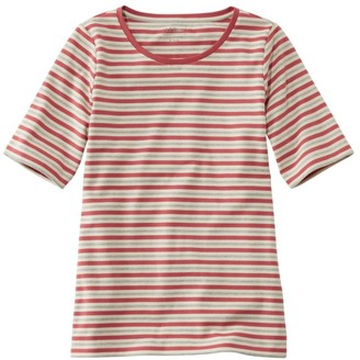 L.L. Bean Women's L.L.Bean Jewelneck Tee, Elbow-Sleeve Stripe