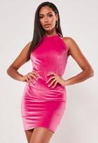 Missguided Neon Pink Velvet 90S Neck Backless Mini Dress