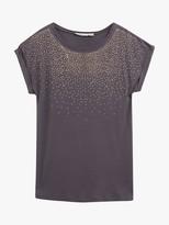 Oasis Stud Embellished Cap Sleeve T-Shirt, Dark Grey