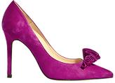 Karen Millen Frill Stiletto Heeled Court Shoes, Magenta