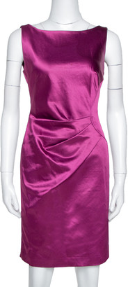 Carolina Herrera Plum Satin Sleeveless Sheath Dress S