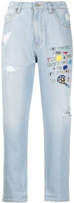 Love Moschino Slogan Print Boyfriend Jeans
