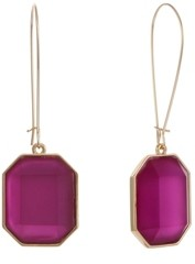 Christian Siriano New York Gold Tone Wire with Pink Square Lucite Drop Earrings
