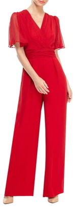 Gal Meets Glam Brielle Clip Dot Chiffon Jumpsuit