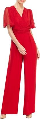 Gal Meets Glam Brielle Clip Dot Chiffon Jumpsuit