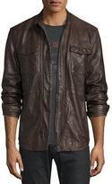 John Varvatos Leather Shirt Jacket, Dark Brown