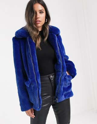 Barneys New York faux fur coat in cobalt blue