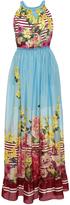 Blugirl Floral Print Striped Maxi Dress