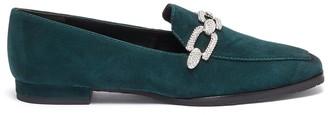 Stella Luna Crystal chain detail suede loafers