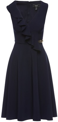 Nissa Front Ruffle Detail Midi Dress