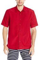 Cubavera Men's Embroidered L Shape Short Sleeve Woven Shirt
