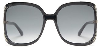 Jimmy Choo Tilda Oversized Glittered Acetate Sunglasses - Womens - Black