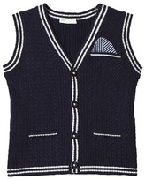 Benetton Navy Rib Knit Sleeveless Cardigan With Printed Pocket Detail