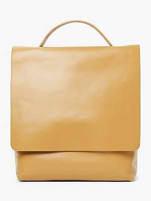 John Lewis & Partners Alina Leather Slim Backpack, Ochre