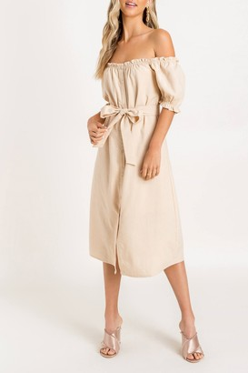 Lush Off-the-Shoulder Tie Waist Midi Dress
