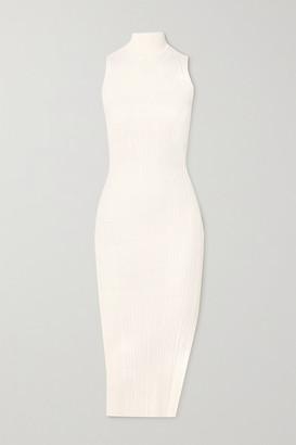 Herve Leger Ribbed-knit Turtleneck Midi Dress - White