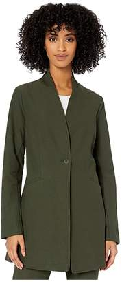 Eileen Fisher Washable Stretch Crepe Stand Collar Long Jacket
