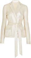 Diane von Furstenberg Hilda Belted Metallic Suede Belted Jacket