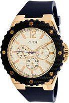 GUESS Women's U0452L3 Sporty Oversized Multi-Function Watch on a Comfortable Navy Blue Silicone Strap with Rose Gold-Tone Accents