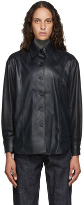 LVIR Black Faux-Leather Oversized Shirt