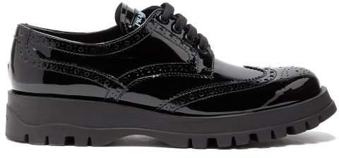 Prada Patent Leather Flatform Brogues - Womens - Black