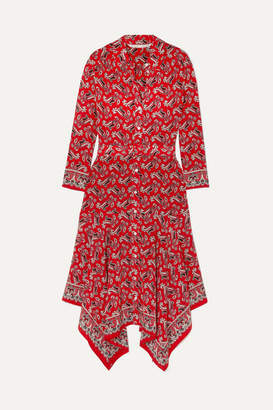 Veronica Beard Willamette Belted Asymmetric Paisley-print Silk Crepe De Chine Dress - Red